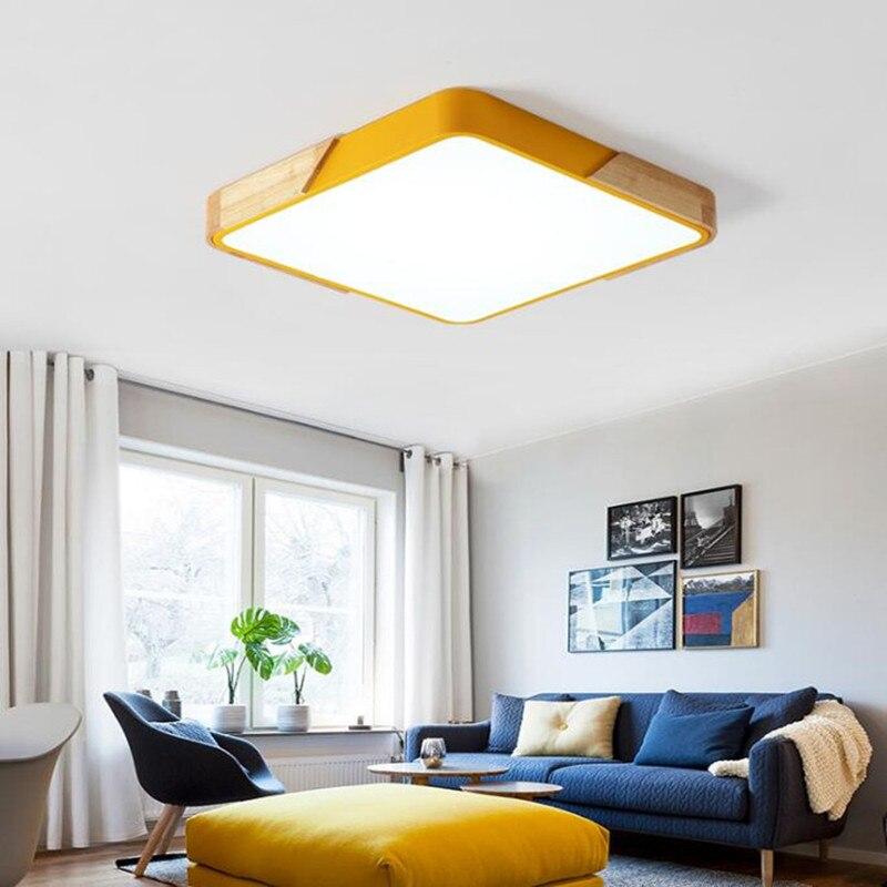 Nordic ultra-cienkie wielokolorowe oświetlenie led lampa sufitowa nowoczesne oświetlenie do biura oprawy drewniane kuchnia sypialnia oprawa sufitowa