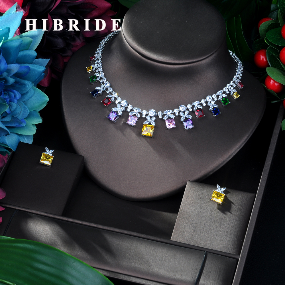 HIBRIDE Sparkling Multicolor Cubic Zirconia Jewelry Sets for Women Earring Necklace Set Wedding Dress Accessories Party