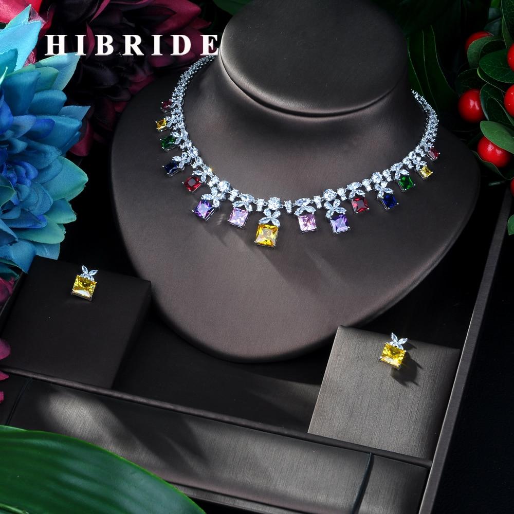 HIBRIDE musujące wielokolorowa cyrkonia sześcienna zestawy biżuterii dla kolczyki damskie naszyjnik zestaw suknia ślubna akcesoria Party GiftN 54 w Zestawy biżuterii od Biżuteria i akcesoria na  Grupa 1