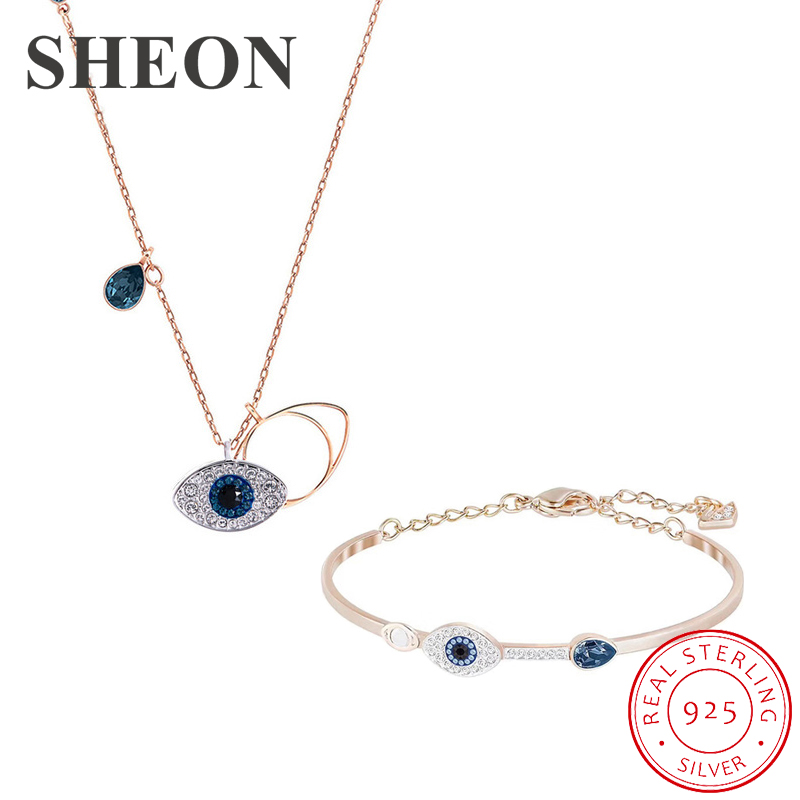SHEON 925 Sterling Silver Devil 39 s Eye Rose Gold Color Necklaces Bracelets Jewelry Sets Wedding Authentic Sterling Silver Jewelry in Jewelry Sets from Jewelry amp Accessories