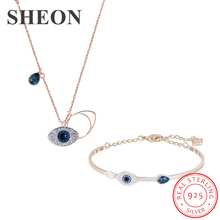 silver bracelets with 14k real gold 100% 925 authentic sterling silver fashion jewelry free shipping SHEON 925 Sterling Silver Devil's Eye Rose Gold Color Necklaces Bracelets Jewelry Sets Wedding Authentic Sterling Silver Jewelry