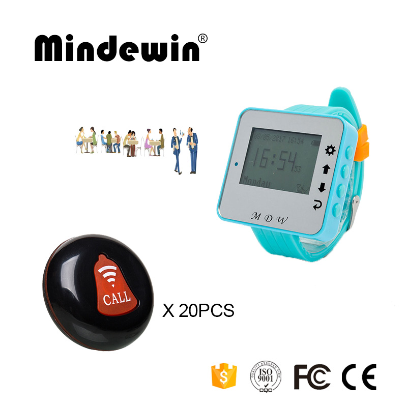 Mindewin New Restaurant Wireless Waiter Service Calling System 20PCS Table Call Buttons M-K-1 and 1PCS Watch Pager M-W-1Mindewin New Restaurant Wireless Waiter Service Calling System 20PCS Table Call Buttons M-K-1 and 1PCS Watch Pager M-W-1