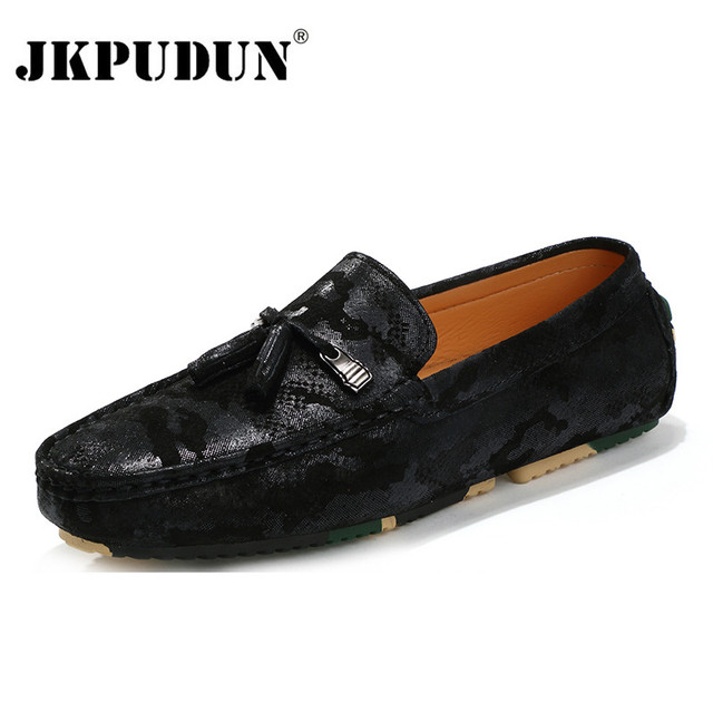 b07750dbb29308 JKPUDUN Summer Causal Shoes Men Loafers Genuine Leather Moccasins Men  Designer Camouflage Suede Mens Driving Shoes