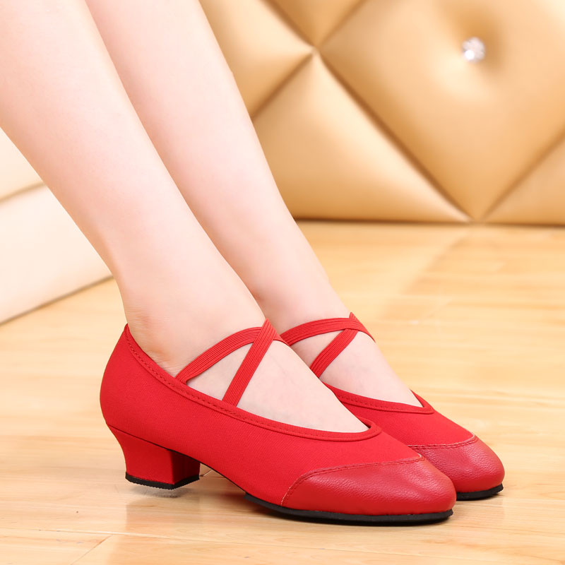 Girls Latin Dance Shoes Modern Character Shoes Rubber Sole Womans Latin Tango Dance Shoes Modern Shoes Square Heel 3.5cm VA30