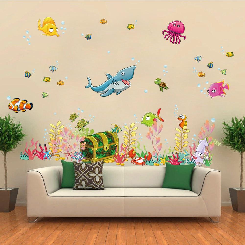 Kartun Magical Underwater World Wall Sticker Stickers Bilik Mandi Retro Poster Wallstickers untuk Kanak-kanak Bilik Bayi Hiasan Bilik Tidur