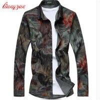 Men Floral Printed Cotton Shirts Brand Plus Size 5XL 6XL 7XL Slim Fit Autumn Long Sleeve