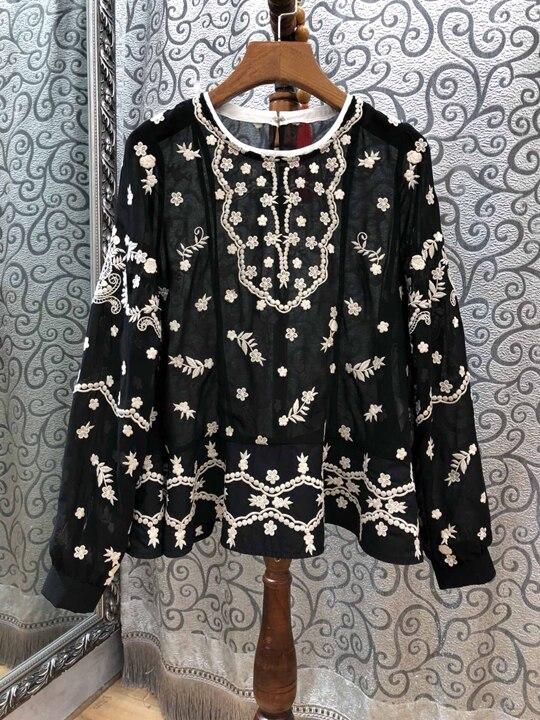 2018 Col D'hiver Broderie Noir Automne Femmes Couleur Et Decoration1102 Pour Vêtements 6r6aTw