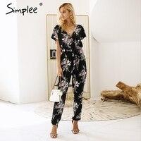 Simplee Vintage Floral Print Boho Jumpsuit Romper V Neck Short Sleeve Casual Jumpsuit Loose Sash Summer