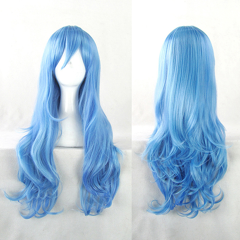 DATE A LIVE Yoshino Cosplay Wigs Role Play 70cm Long Curly Wavy Blue Synthetic Hair for Adult+Hairnet