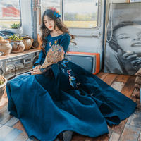65d2b1cb2a ... koronki hafty motyl słodkie kobiety X469. Women Blue Dress Fashion 2019  Fall Winter Lotus Sleeve Lace Embroidery Butterfly Sweet Women Dress X469