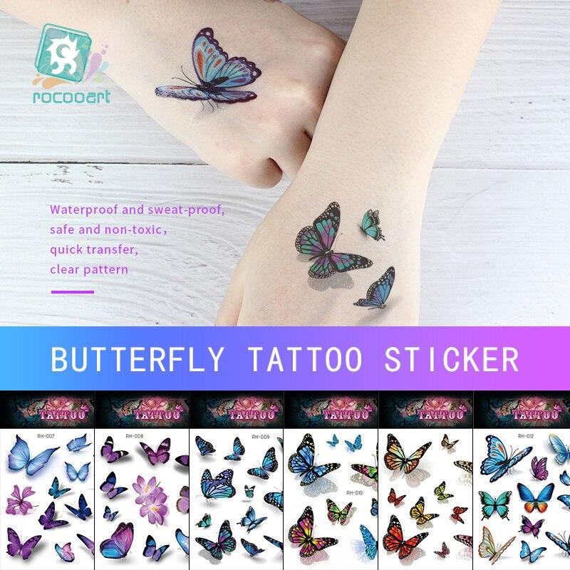 Rocooart Watercolor Butterfly Temporary Tattoo Sticker Waterproof Women Fake Tattoos Men Children Body Art 3D Taty