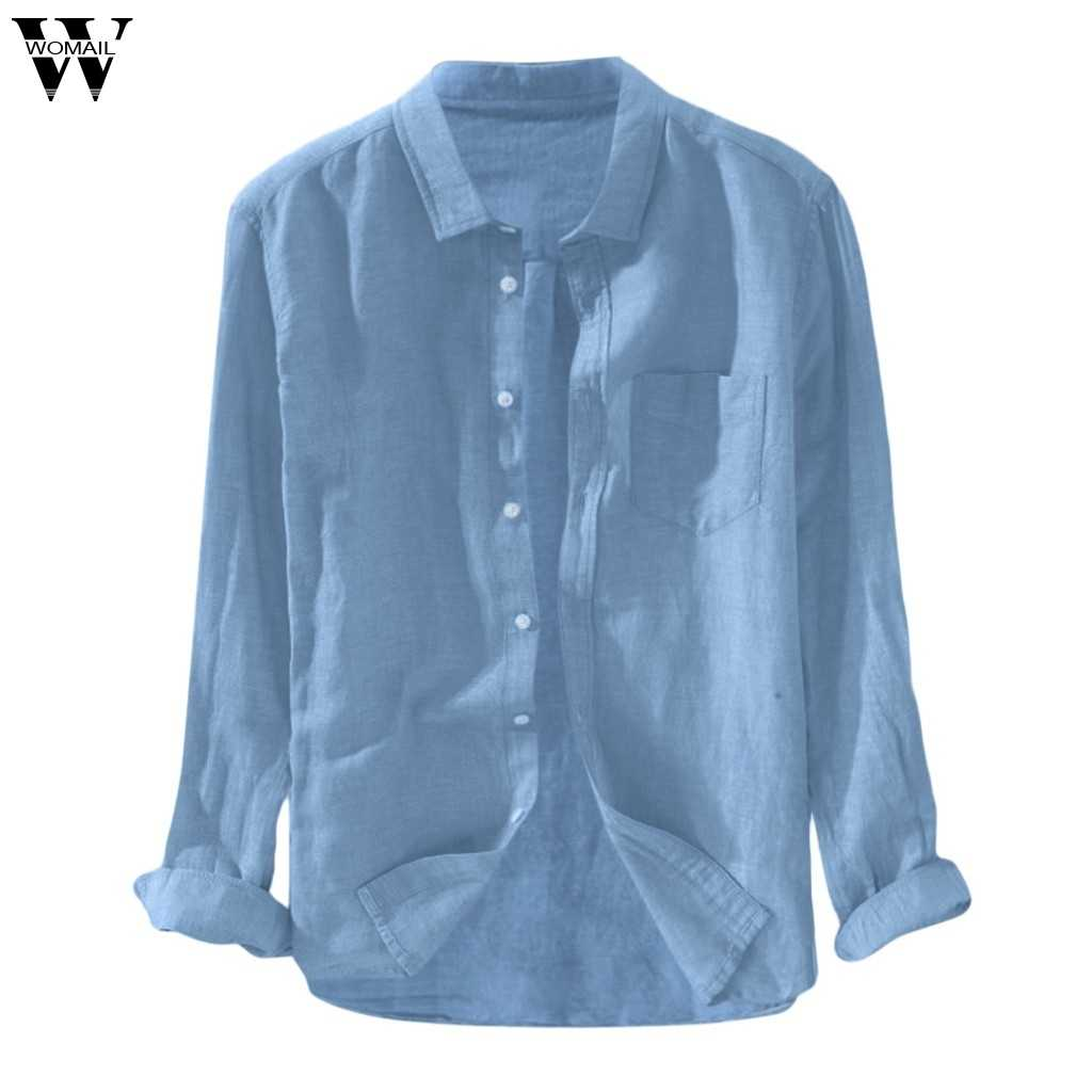 Womail Plus Size Blouse heren Katoen Linnen Lange Mouwen Button Pocket Solid Casual Fashion Shirts Voor Mannen 2019 Dropship may30