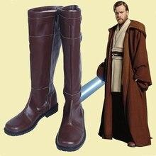 جديد حرب النجوم تأثيري أحذية القوة يوقظ Jedi Obi Wan تأثيري أحذية بولي PU الأحذية الجلدية الركبة عالية البني سستة متابعة حجم 35 48