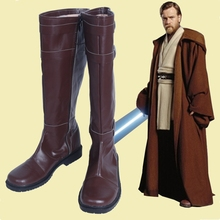 New Star Wars Cosplay Shoes The Force Awakens Jedi Obi Wan Cosplay Shoes PU Leather Boots Knee High Brown Zipper up Size 35 48