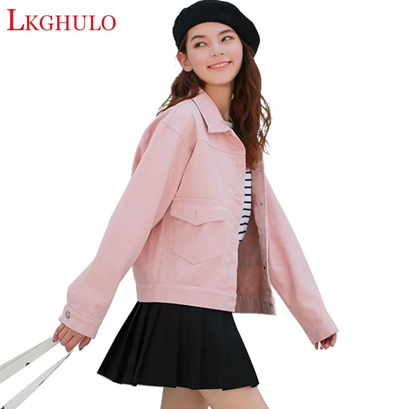 LKGHULO Women Basic Coats Autumn Women Denim Jacket 2018 Vintage Long Sleeve Loose Female Jeans Coat Casual Girls Outwear A805