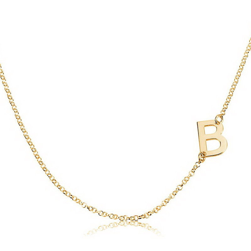 sideways initial necklace one capital letters custom silver necklacegold initial pendant necklace