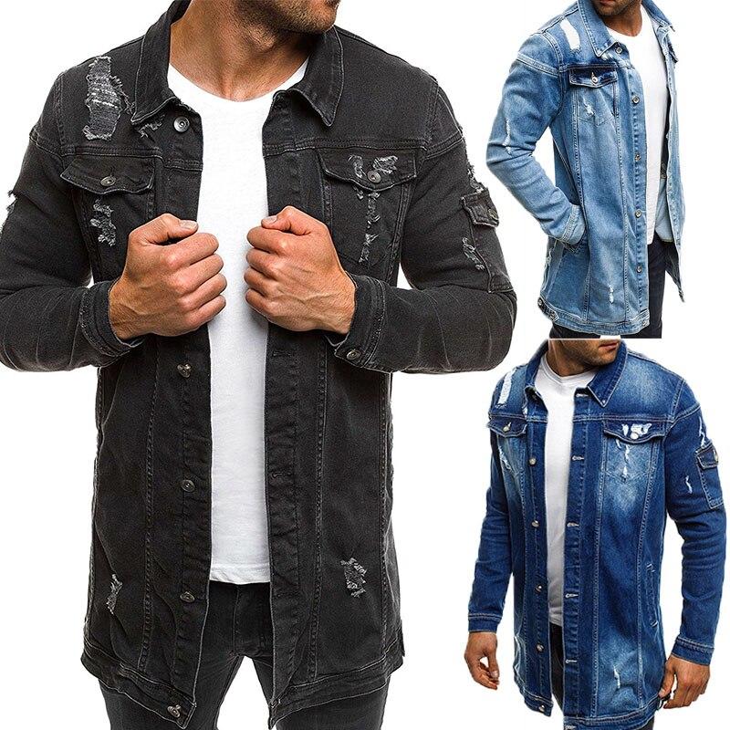 2018 Men Cowboy Coat High Quality Autumn Style Beggar Hole Denim Jacket Loose Thin Sleeve Cowboy Jacket XXXL