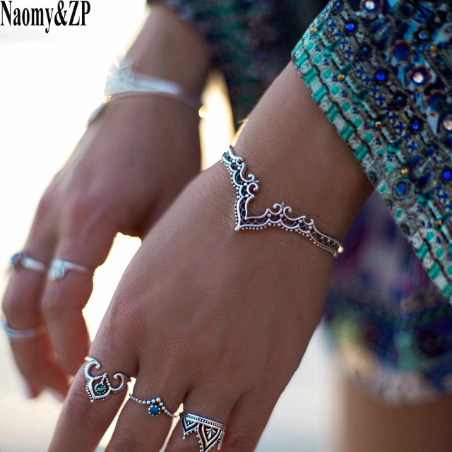 Naomy&ZP Bracelets & Bangles Vintage Indian Hollow Pattern Bangle Bohemian Cuff Bracelets For Women Femme Fashion Jewelry