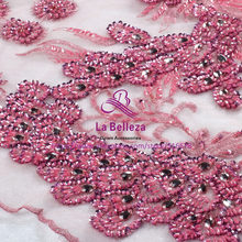 69a72a25 120cm by yard pink/nude pink/purple/light gray handmade surper heavy  beading sequins wedding/evening/show dress lace fabric