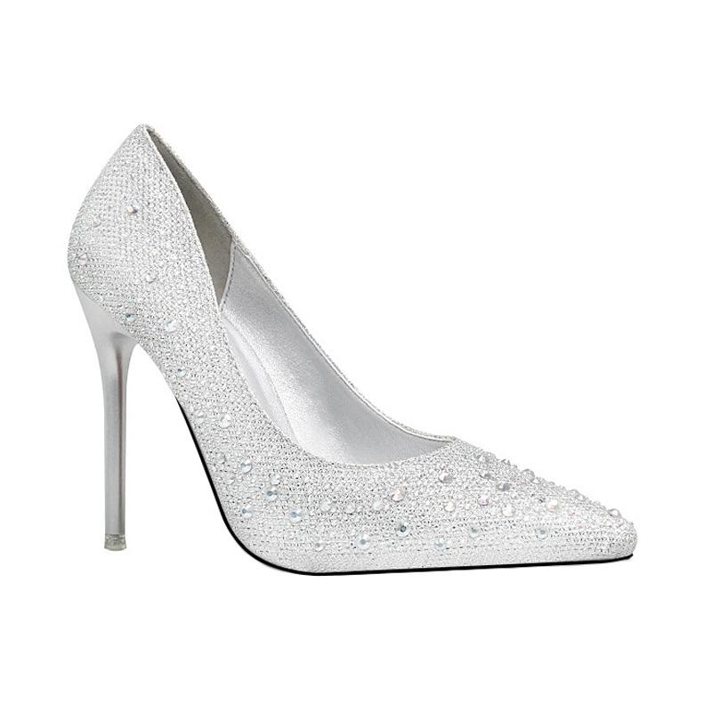 Del 2018 Solos Dedo gray blue Tacón Agua Fino Boda silver Zapatos gold pink Color Black Chaussure De Taladro Mariage wqxHfzPw