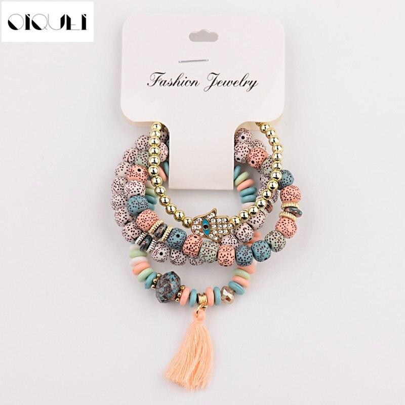 OIQUEI Vintage 4Pcs/Lot Women Bracelets Set Bohemia Charm CZ Hand Natural Stone Beads Tassel Pendents Bracelets Pour Les Femmes(China)