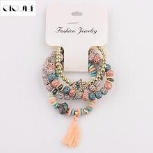 Oiquei vintage 4 pçs/lote feminino pulseiras conjunto bohemia charme cz mão natural pedra grânulos pendéis pulseiras pour les femmes