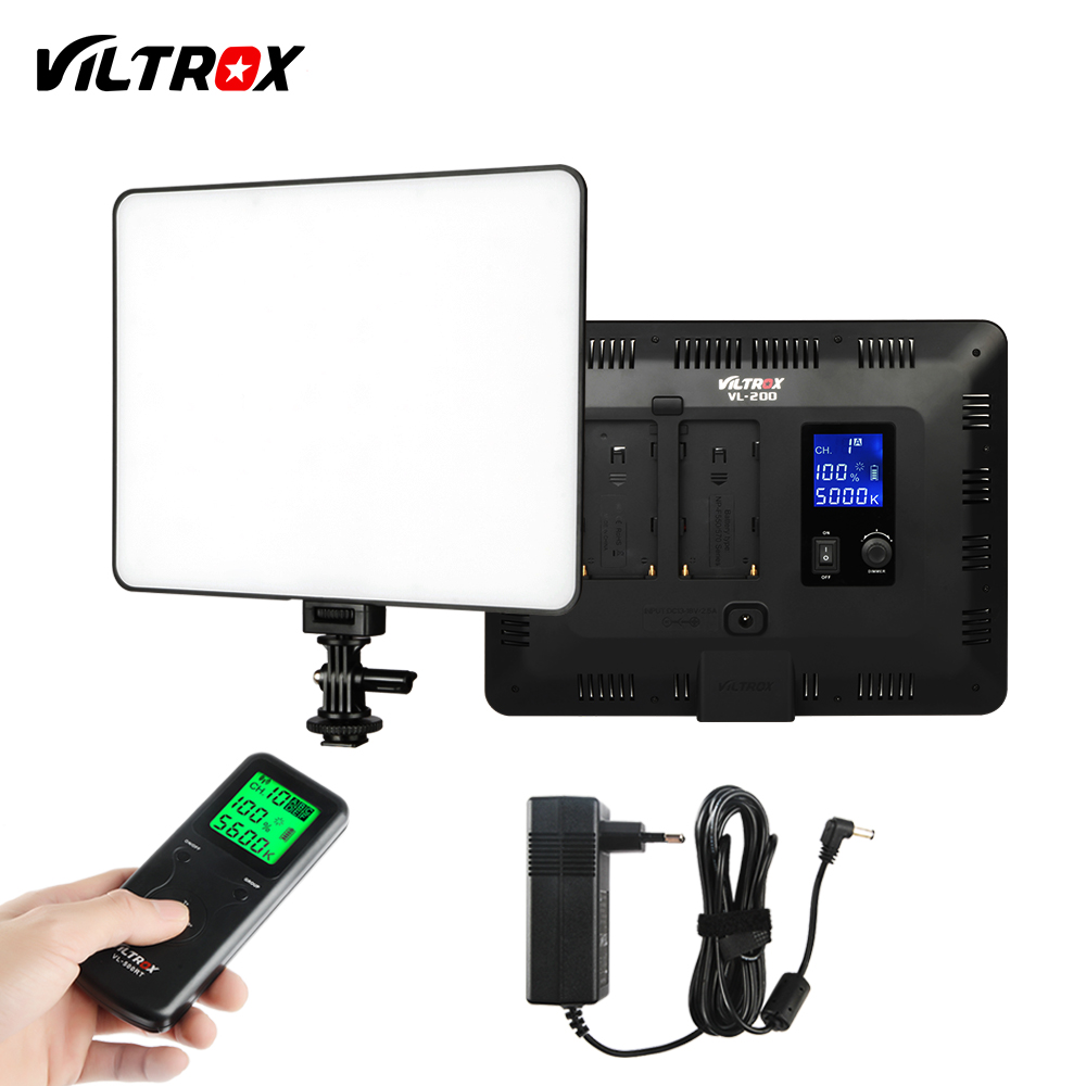 VILTROX VL-200T 12.4'' Wireless Remote Photo Camera Video Studio LED Light Bi-Color Dimmable+DC Power Adapter For Canon Nikon