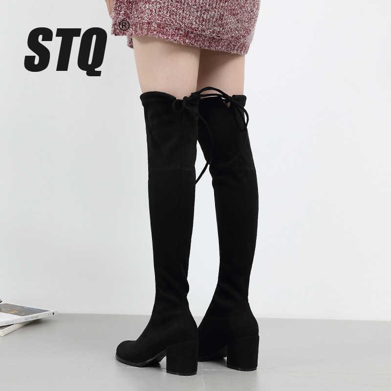 STQ 2020 kış kadın botları kadın Faux süet peluş sıcak çizmeler diz üzerinde çizmeler bayanlar yüksek topuk platformu kar keçe çizmeler 7512