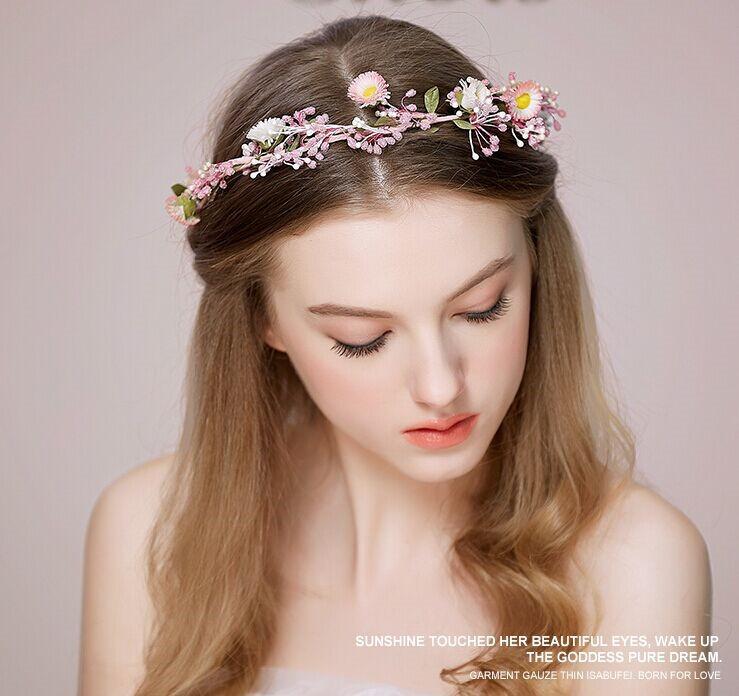 Fai da te personalizzato fiore rosa diademi giardino fata copricapo da  sposa ghirlande floreali romantici accessori sposa sposa capelli