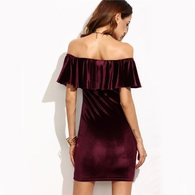 COLROVIE Ruffle Off The Shoulder Velvet Bodycon Dress Sexy Women Short Sleeve Club Wear Mini Dress Burgundy Party Winter Dress 8