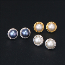 12mm Round Natural Freshwater Pearl Earrings 925 Sterling Silver Pearl Stud Earrings Black/White Round Pearl Earrings For Women