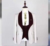 Men Suit 2018 Wedding Suits For Men Burgundy Shawl Collar 3 Pieces Slim Fit Suit Mens White Tuxedo Jacket jacket pant vest