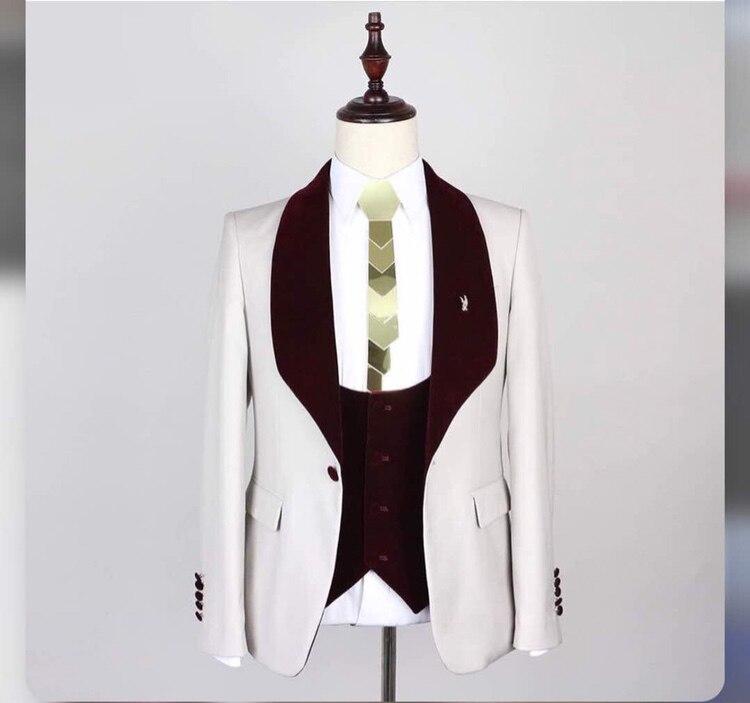 Men Suit 2018 Wedding Suits For Men Burgundy Shawl Collar 3 Pieces Slim Fit Suit Mens White Tuxedo Jacket jacket pant vest ...
