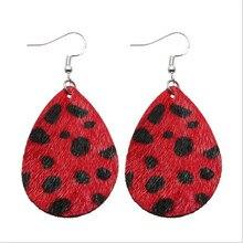 2019 Leopard Leather Drop Earrings For Women Bohemia Teardrop Pu Fashion Statement Jewelry Gifts Wholesale