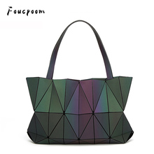 Nouveau sac à main lumineux pour femmes Noctilucent sacs à main et sacs à main géométrie Bao sac fourre tout pour dames sacs à bandoulière pliants plaine hologramme