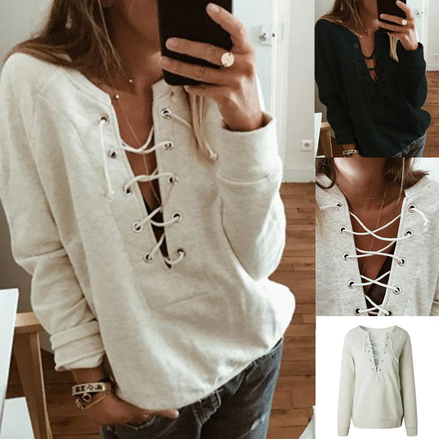 eb79b680b8 Fashion Women s Autumn Winter Lace Up V Neck Solid Long Sleeve Hoodies  Casual Party Tops