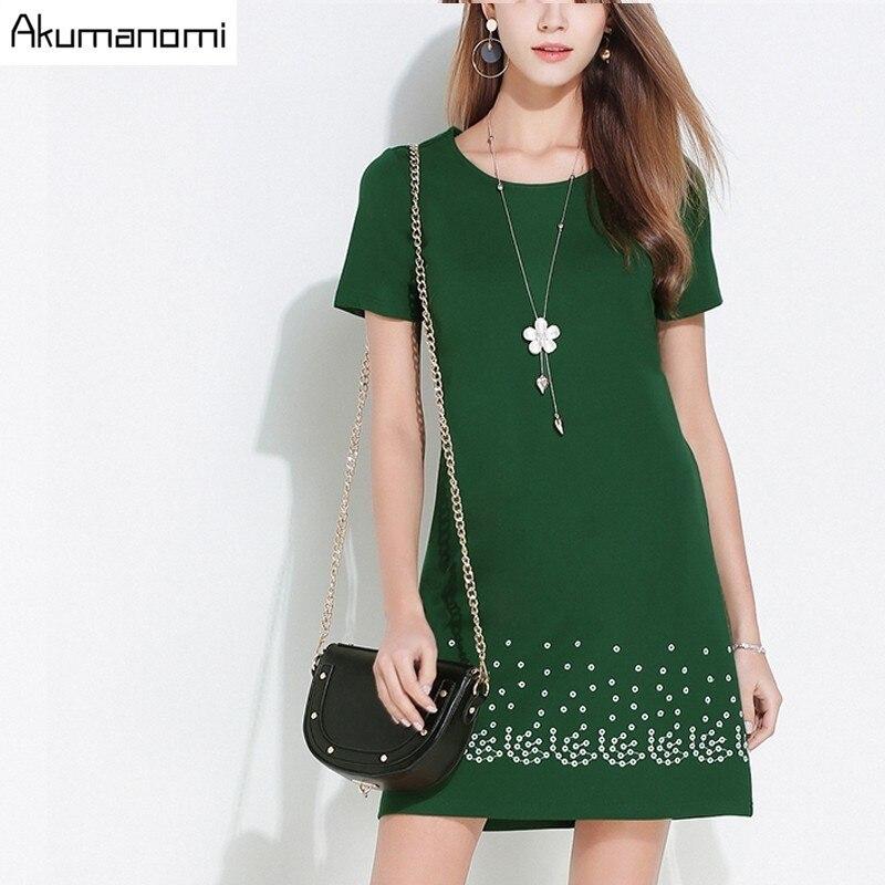 Dress Round Collar Loose Short Sleeves Solid Dark Green Black Embroidered  Summer Dress Plus Size 5XL 4XL XXXL XXL XL L M 1543e4014f68