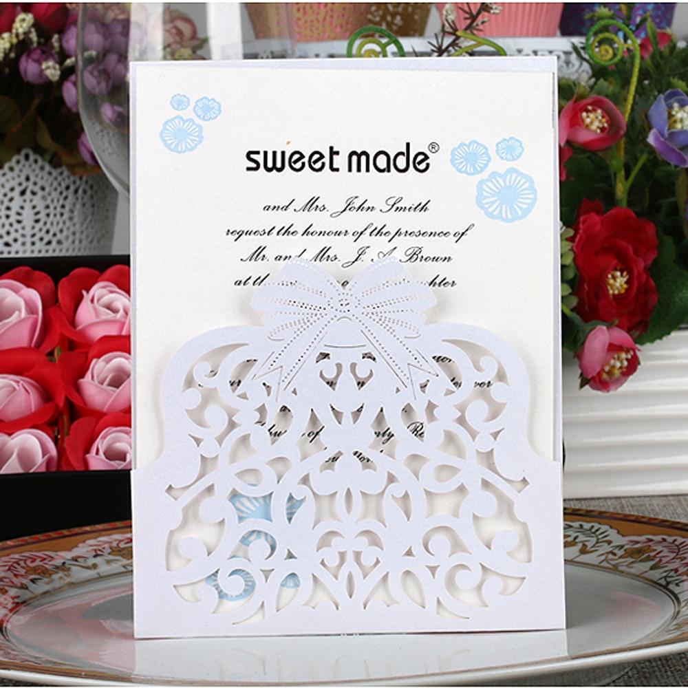 10cs Laser Cut Wedding Invitation Card Kit Creative Fower Carved Pattern with Inner Sheet Envelope Wedding Card Decor Supply