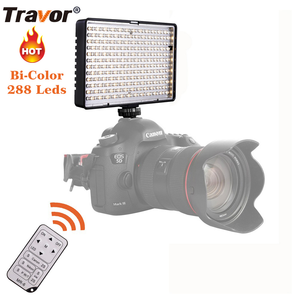Travor 288pcs BiColor LED Video Light on Camera Light for Canon Nikon Sony DV Camcorder+NP-F550 battery+Charger+remote control
