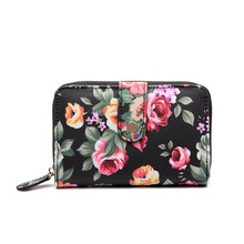2016 Fashion Womens Floral Print Wallets And Purses 4 Color Oilcloth Material Wallet Portefeuille Femme short style