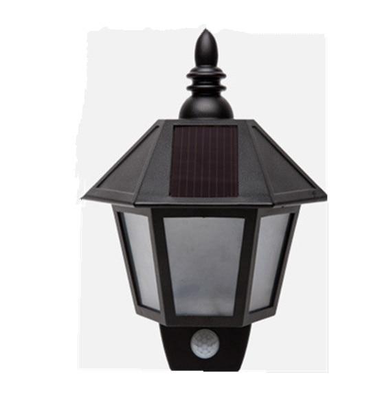 LED Solar Lights Hexagonal Body Sensor Wall Lamp Sconce