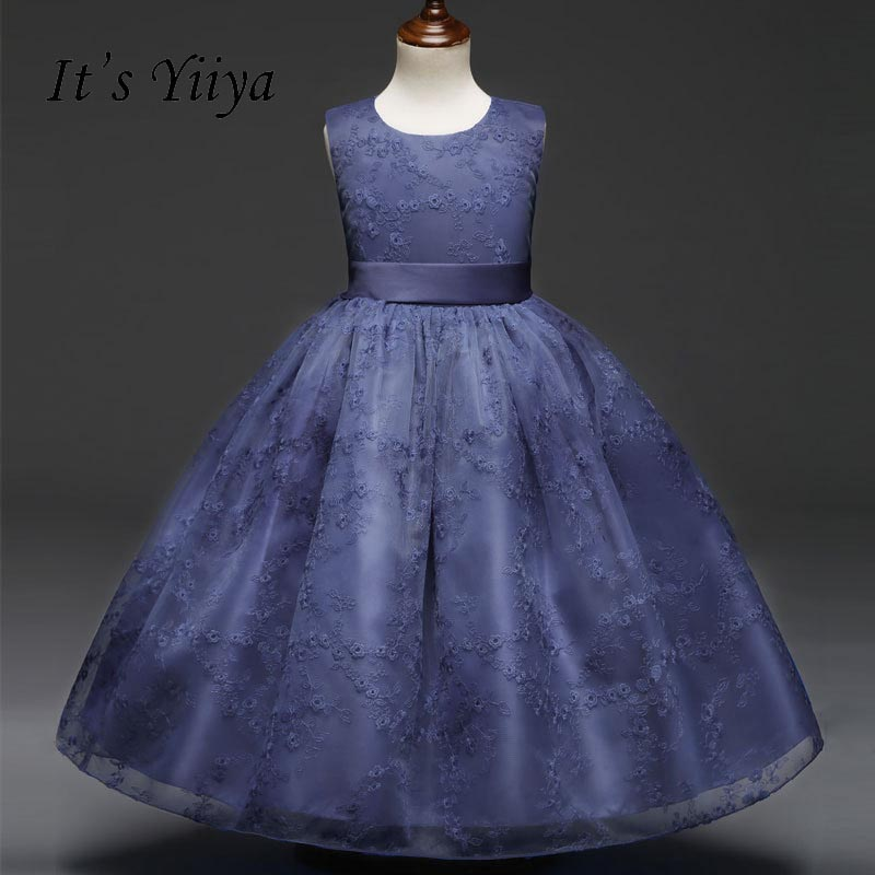 It's yiiya Fashion Zipper   Flower     Girl     Dresses   O-neck Kid Child Ball Gown Lace   Dress   Sleeveless For Party Wedding   Girl     Dress   S132