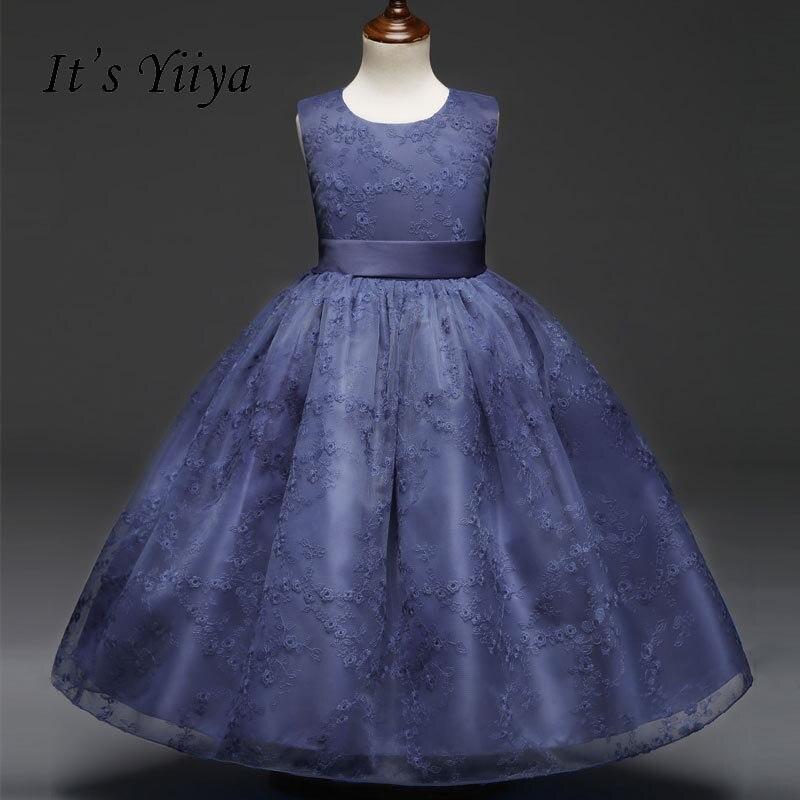 It's yiiya Fashion Zipper   Flower     Girl     Dresses   O-neck Kid Child Ball Gown Lace   Dress   Sleeveless For Party Wedding   Girl     Dress   S132