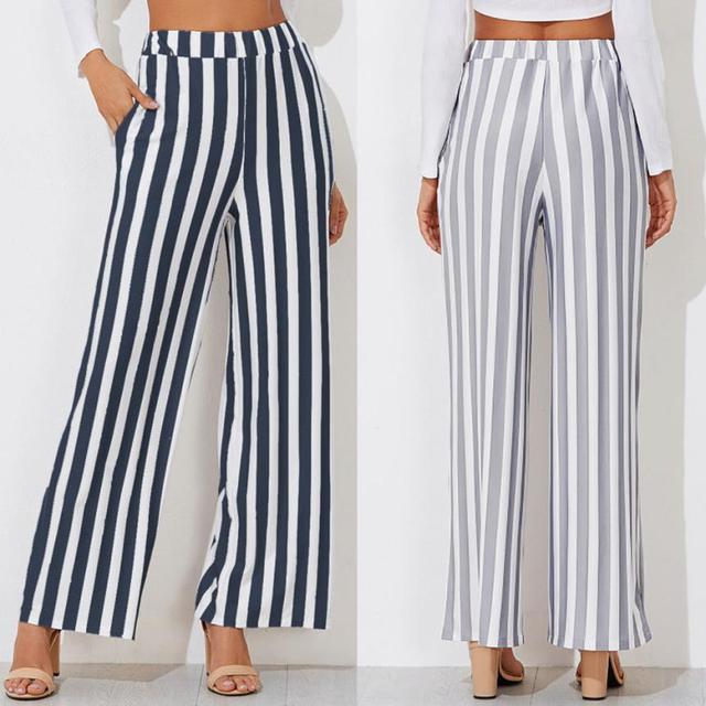 MUQGEW Women's pants Wide Leg Pants Leggings Casual Stripe Print Trousers for women