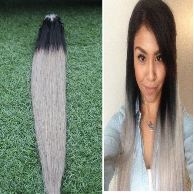 Brazilian Straight Hair Micro Loop Human Hair Extensions 100g Gray