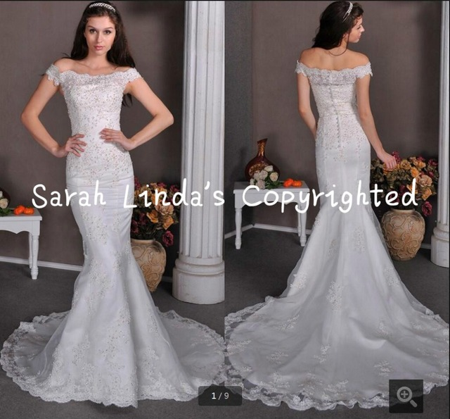 2016 Real Picture Ghana Mermaid Lace Appliques Wedding Dress Off The Shoulder Beads Sequins Gowns