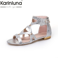 Karinluna 2018 Large Size 33 43 FLAT HeelS Sandals Summer Shoes Woman Leisure Gladiator Women Shoes