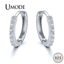 UMODE 2019 New 925 Sterling Silver Clear&Black CZ Crystal Hoop Earring for Women Zircon White Gold Earring Hoops Jewelry ALE0385 dreamcarnival 1989 2 row thin stones zircon big circle round hoops sterling silver 925 jewelry timeless wedding earring se14743r