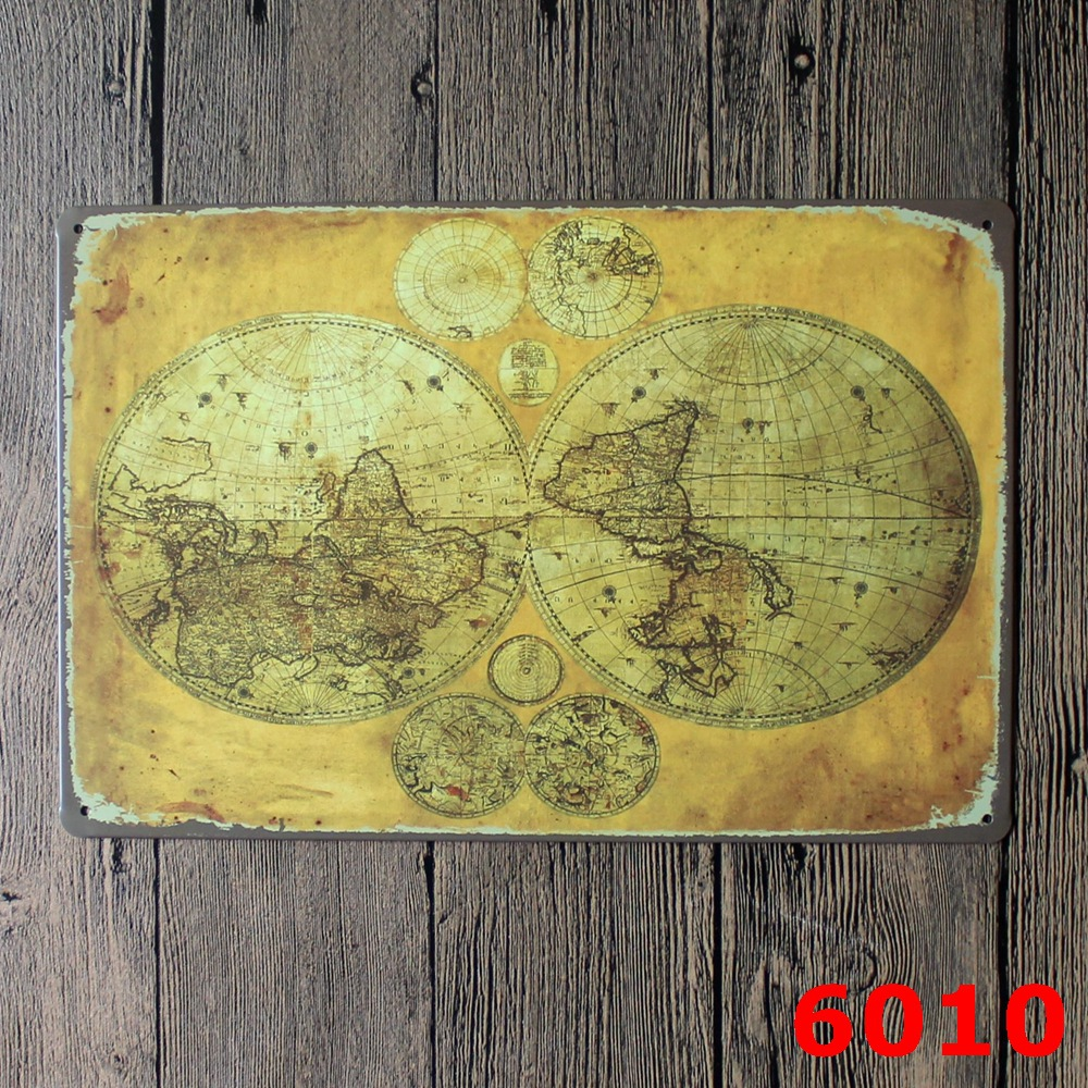 World Map for Vintage Home Decor Tin Sign Coffee Shop Wall Decor ...