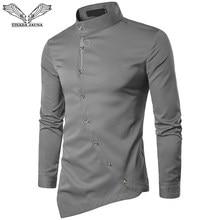 54ee04da1cb703 VISADA JAUNA 2018 Neue Herrenmode Baumwolle Lange Ärmeln Hemd Einfarbig Slim  Fit Shirts Männer Casual Unregelmäßigen